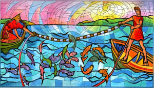 fishing stained glass